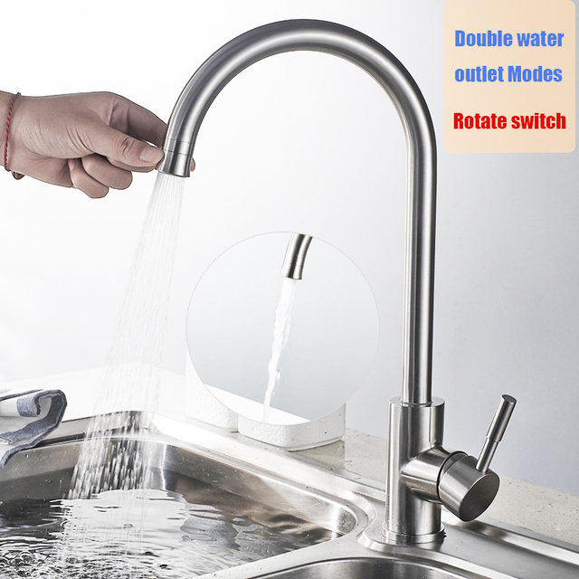 Superieur Double Water Outlet Modes Kitchen Faucet Stainless Steel Brushed Rotatable  Easy Switch Kitchen Sink Mixer Water