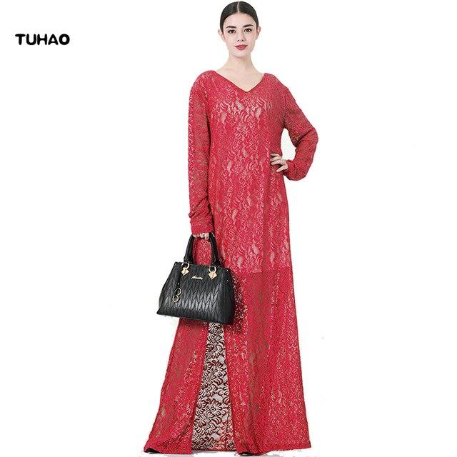 TUHAO Lace Robes Split Fork Maxi Long Dress Vintage Female Plus Size 7XL 8XL 9XL Hollow Out Elegant Loose Women's Dresses CM29