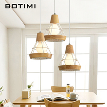 BOTIMI Nordic LED Pendant Lights For Dining Wooden Lampadario Vintage Metal Hanging Light Kitchen Fixtures Wood Luminaria