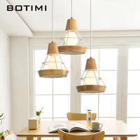 BOTIMI Nordic LED Pendant Lights For Dining Wooden Lampadario Vintage Metal Hanging Light Kitchen Light Fixtures Wood Luminaria