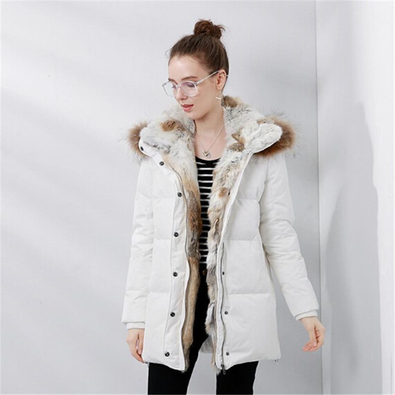 Lapin Zipper Le Femmes Col Taille Cadeau Longue Épaisse Vêtements Vers Mode Chaud Nouvelle Bas Fourrure Black Veste Manteau La De white Plus Parka D'hiver 66zq5
