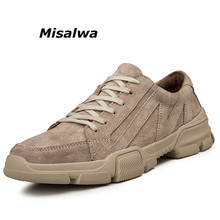 Misalwa Big Size 38-46 Men's Casual Style Shoes Thick Platform Rubber Sole Men Khaki Sneakers Anti Collision Men Shoes Leather