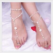 Pearl Anklet Bracelet Barefoot Sandals Beach Wedding Women Jewelry 48cm 1PC