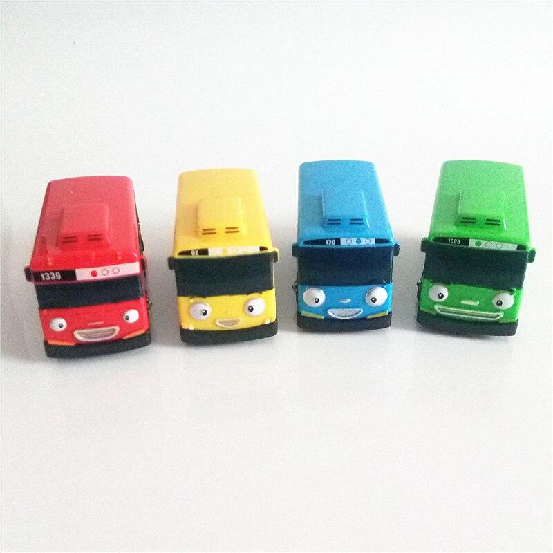 4 pçs/set carro Tayo o pequeno ônibus Coreano Anime oyuncak araba mini modelo de plástico puxar para trás tayo ônibus para as crianças de Natal presente