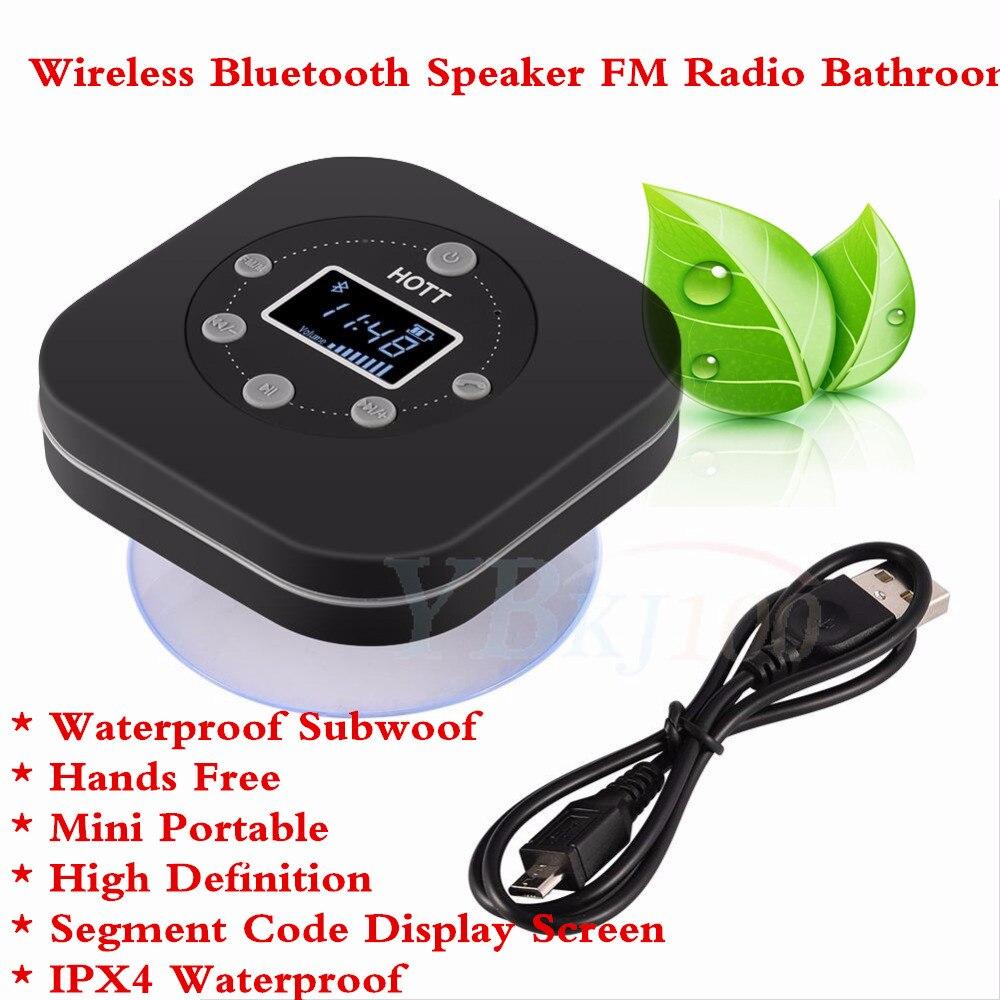 HOTT Mini Portable Sans Fil Bluetooth Haut-Parleur FM Radio Salle De Bains Mains Libres Haute Définition Haut-Parleur Microphone Étanche Caissons D'extrêmes Graves
