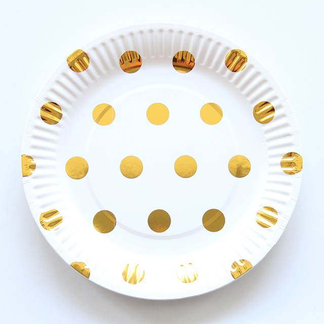10pcs/lot Gold Silver Dot Wedding Design Paper Plate Disposable Plates For Kids Birthday Wedding  sc 1 st  AliExpress.com & 10pcs/lot Gold Silver Dot Wedding Design Paper Plate Disposable ...