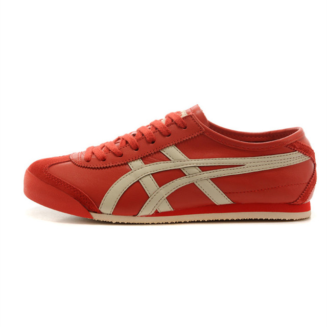 low priced e4b68 a9310 US $125.22 |Aliexpress.com : Buy ONITSUKA TIGER MEXICO 66 Red beige Rubber  sole Anti slippery Comfortable breathable Men Women Sneakers Badminton ...