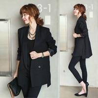 2019 Solid Long Style Black Women Jacket and Blazer Female Notched Collar Asymmetrical Chic Ladies Blazers feminin