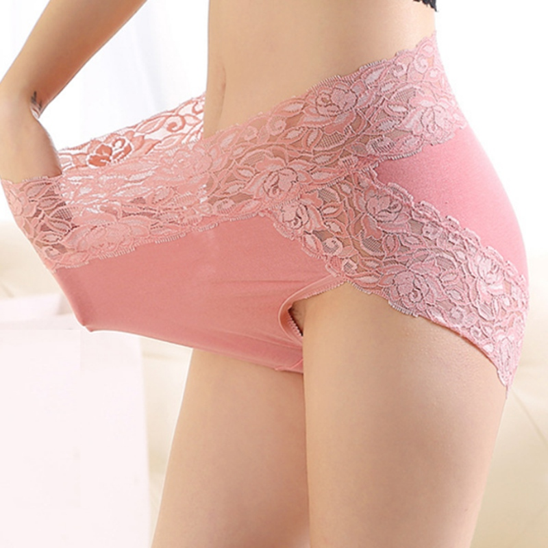 New Sexy Women Seamless Briefs Underwear Fashion Modal Lace High Waist Elastic Panties Embroidery Ladies Lingerie