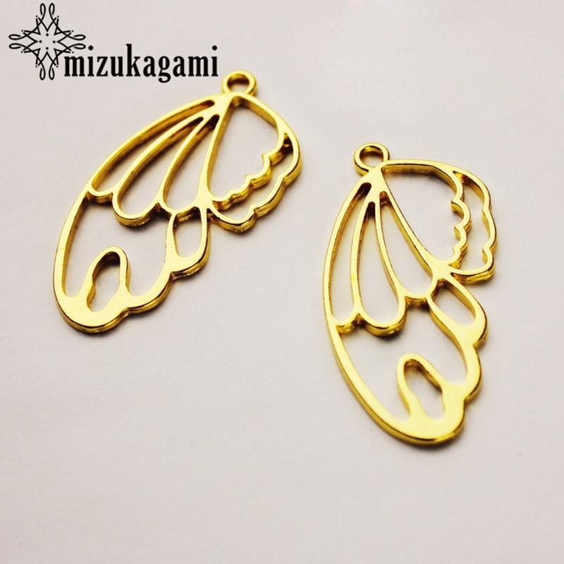 Butterfly Wings Charms 20pcs/lot UV Resin Zinc Alloy Metal Frame Pendant Golden Bezel Setting Cabochon