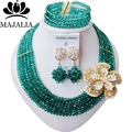 Fashion Nigeria Wedding african beads jewelry set Peacock Green Crystal necklace Bridal Jewelry sets Free shipping T-1934