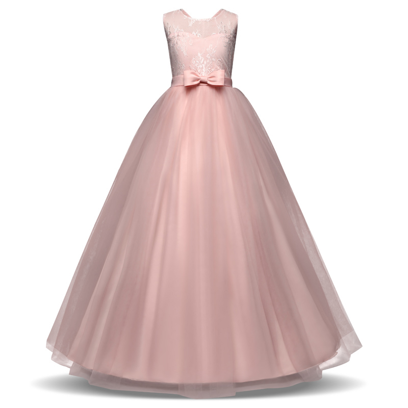 Kids Girl Ball Gown Dress 2018 Teenagers Floral Lace Dress For 6-14 Year Girls Princess Birthday Party Dress Long Formal Dresses erapinky girl dress kids girls backless dress bow lace ball gown party dresses easter dress for girls 8year old child clothes