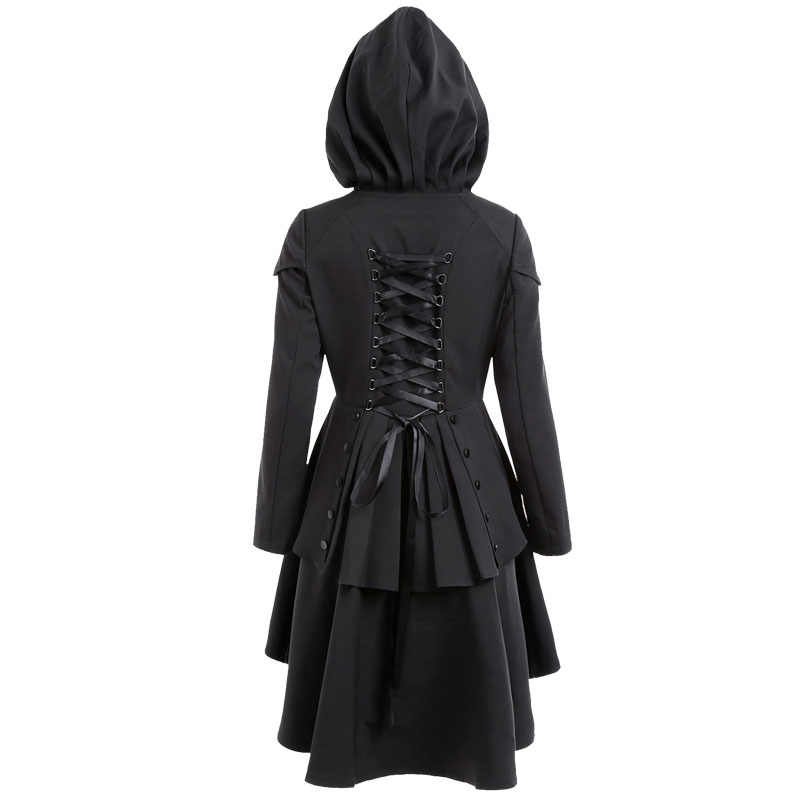 Vintage Women Hooded Trench Coat Gothic Style Plus Size Autumn Winter Casual Bandage Waist Overcoat High Low Ruffles Long Trench