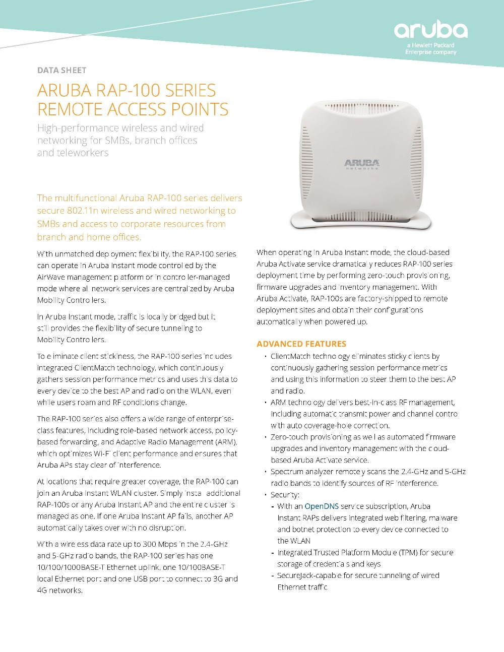 Detail Feedback Questions about Aruba Instant RAP 109 RW