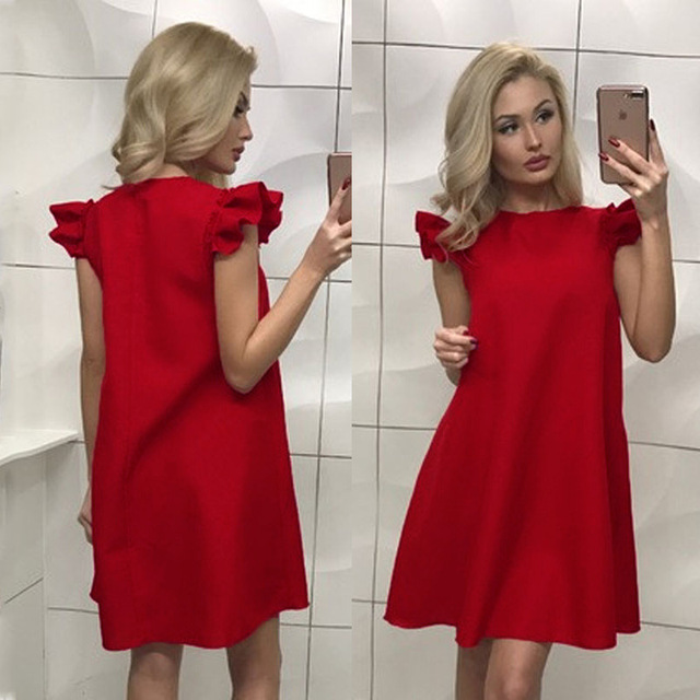 1aa916c69e36 summer 2019 casual short dress loose plus size party dresses short  butterfly sleeve dress red white black colour vestidos