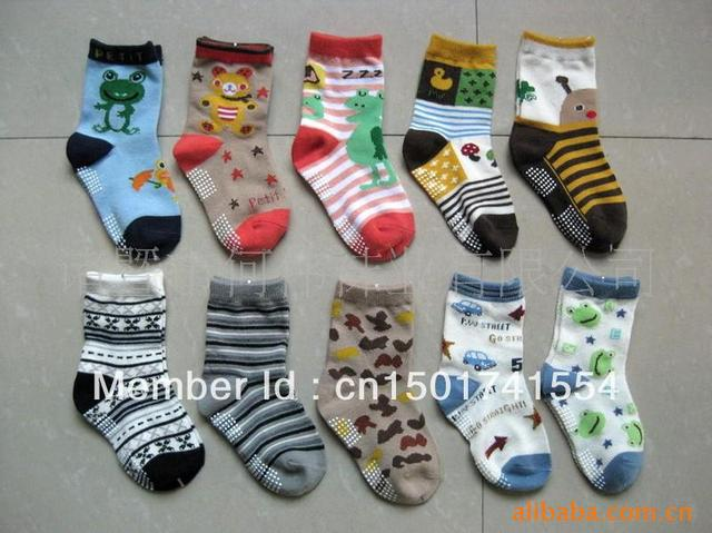 free shpping New arrival hot-selling 100% cotton children socks slip-resistant small kid's socks baby floor socks