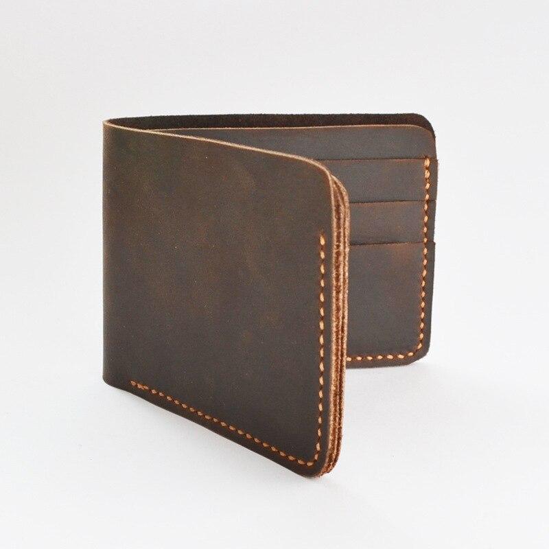 crazy horse male wallet vintage slim purse money luxury designer short purse handmade high quality men Multi-Card Bit wallet