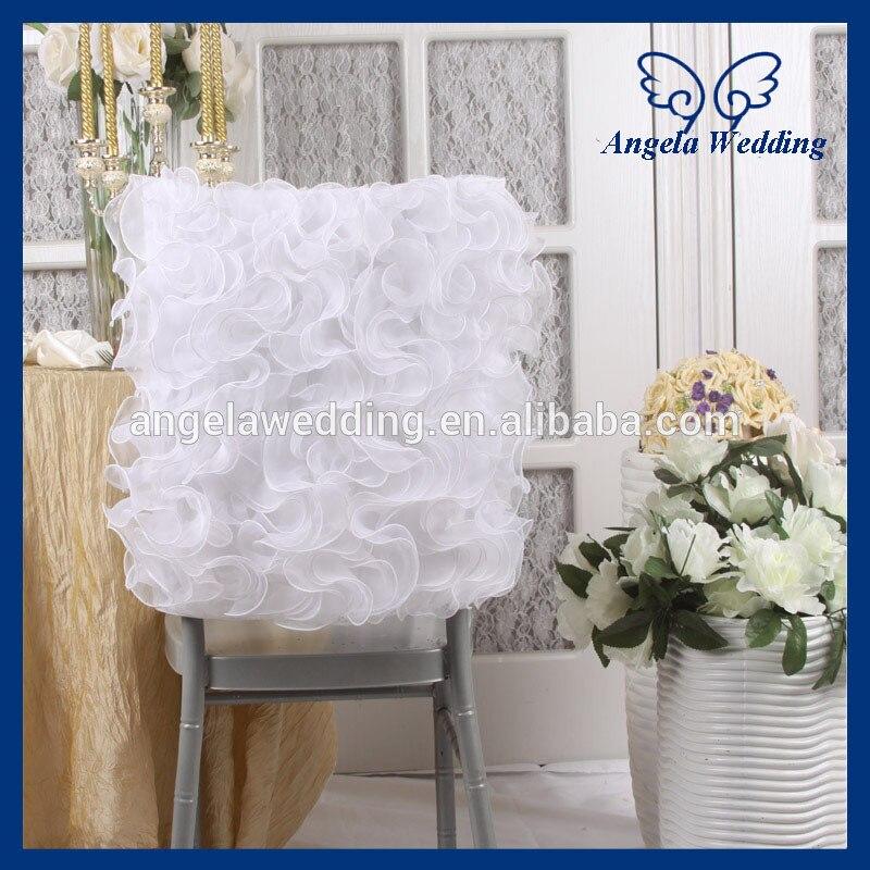 CH008B оптовая необычные свадебные двойными оборками из органзы белый стул крышка ...