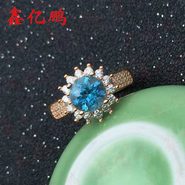 925 silver inlaid natural topaz stone ring female