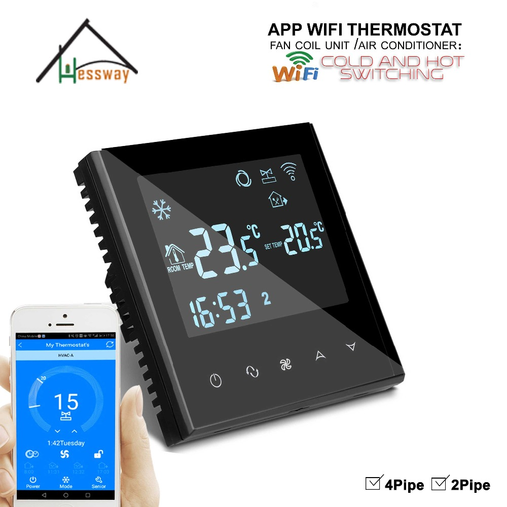 2pipe 4pipe Touch button type fan coil room  thermostat wifi for air conditioning temperature controller|Air Conditioner Parts| |  - title=