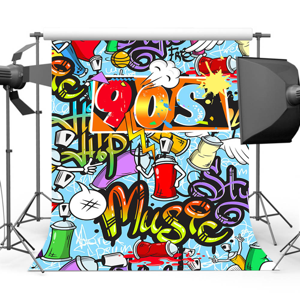 Mehofoto 90s graffiti backdrop for birthday theme party background for photography photo studio props mw 242 in background from consumer electronics on
