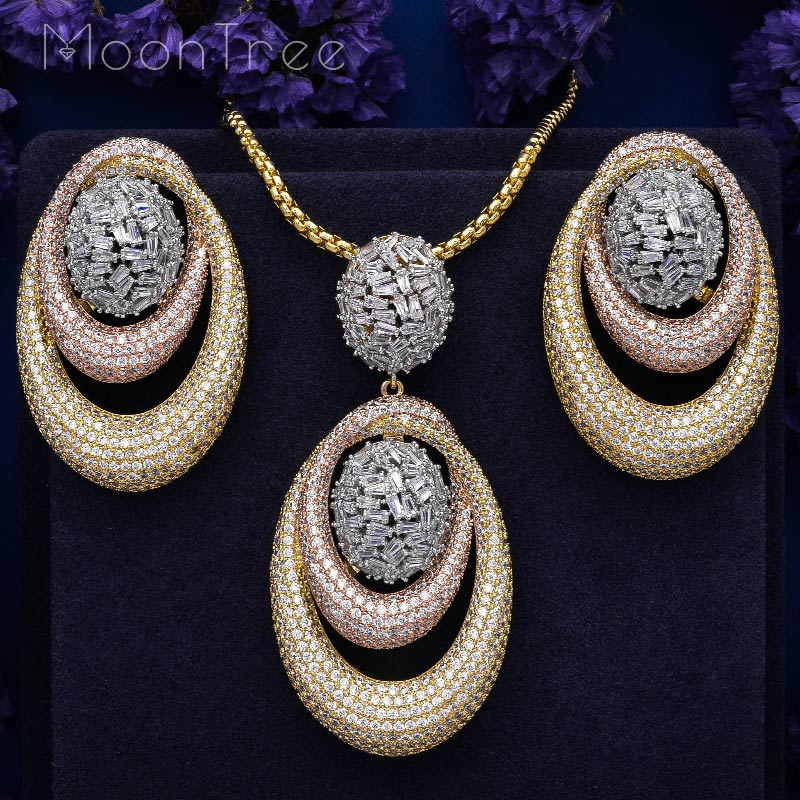 MoonTree Circle Geometry Fashion Luxury Super AAA Cubic Zirconia Women Engagement Necklace Earring Jewelry Set
