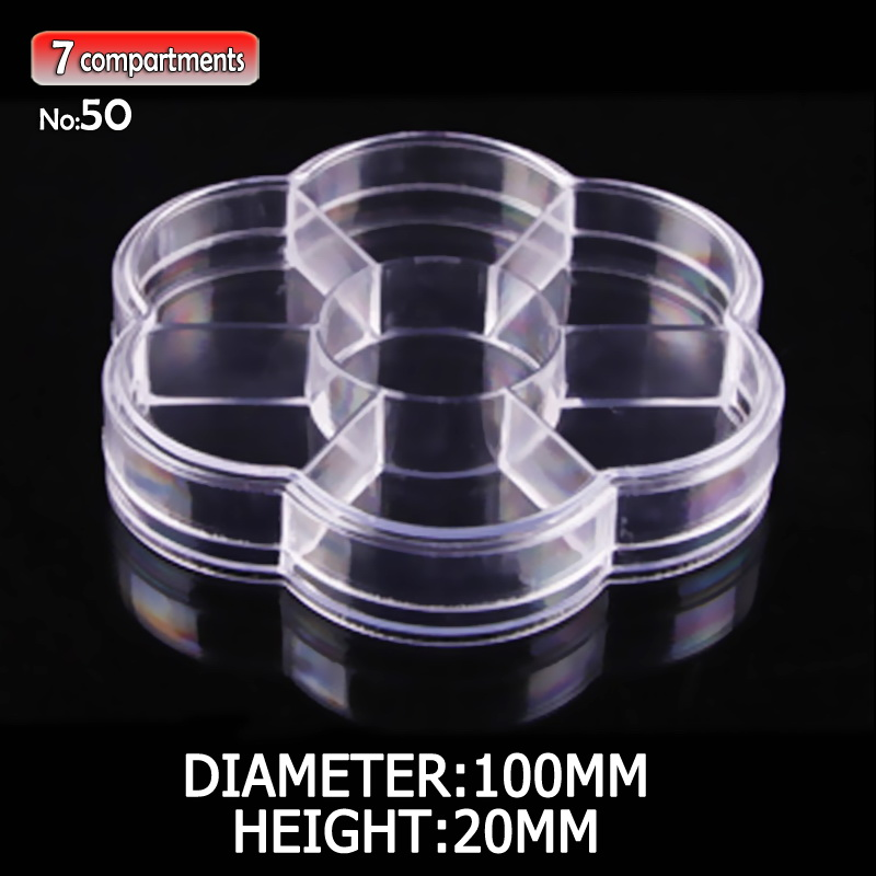 Clear Flower Box Plastic Storage 7 fixed compartments for DIY Tool Nail Art Jewelry Accessory beads stones Crafts case container