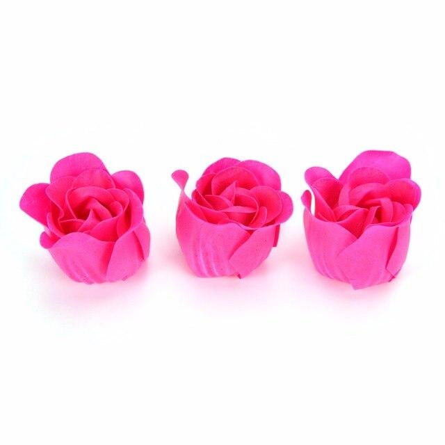 Hot Sale 3pcs Scented Bath Body Flower Soap Rose Petal in Heart Box Wedding Favor 5