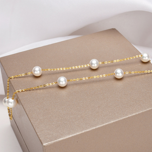 [YS] 18K Gold 5-5.5mm White Pearl Necklace China Freshwater Pearl Necklace Jewelry 4