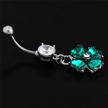 2018 New Clover Body Jewelry Sexy Retro Women Belly Button Rings Piercing Navel Ring Crystal Navel Piercing Jewelry Hot Sale(China)