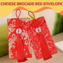 Китайский узел Дракон Феникс узор Деньги пакеты парчи красные конверты изысканный Весенний фестиваль Лучшие пожелания Свадебный Кошелек