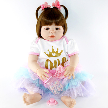 22inch 55cm Full silicone Vinyl Princess Toddler bebe Dolls modeling Girls Birthday Gift Present Child Play House Toy boneca