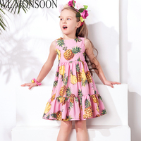 2015 Autumn Winter Girls Dress Brand Designer Baby Dress Print Pattern Dobby Cinderella Dress Girls Clothes
