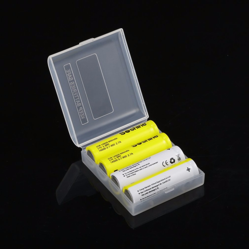 4pcs Soshine 14500 Batteria 3 7V 900mAh Batteries Rechargeable Li ion Battery with Box for LED