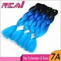 "3Packs 100G 24"" Black To Blue Kanekalon Jumbo Braid Cabelo Hair Extensions Three Tone Color Ombre Synthetic Box BraidIng Hair"