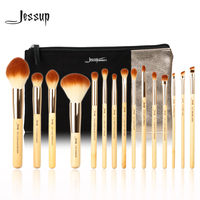 Jessup Brand 15 Pcs Beauty Bamboo Professional Makeup Brushes Set T142 Cosmetics Bags Women Bag CB002