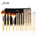 Jessup marca 15 pcs beleza de bambu pincéis de maquiagem profissional definida t142 & sacos cosméticos mulheres saco cb002
