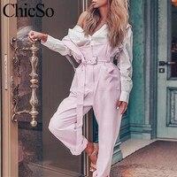 MissyChilli Pink Ruffle casual jumpsuits rompers High waist belt streetwear female jumpsuit Autumn winter overalls for women new