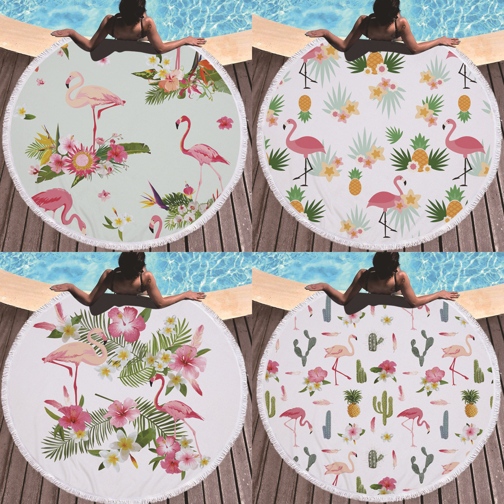 2019 Creative Design Flamingo Microfiber Plus Kwastje Ontwerp Ronde Strandlaken Bad Mat Yoga Mat Kind Kruipen Pad Maat 150 Cm Handig Om Te Koken