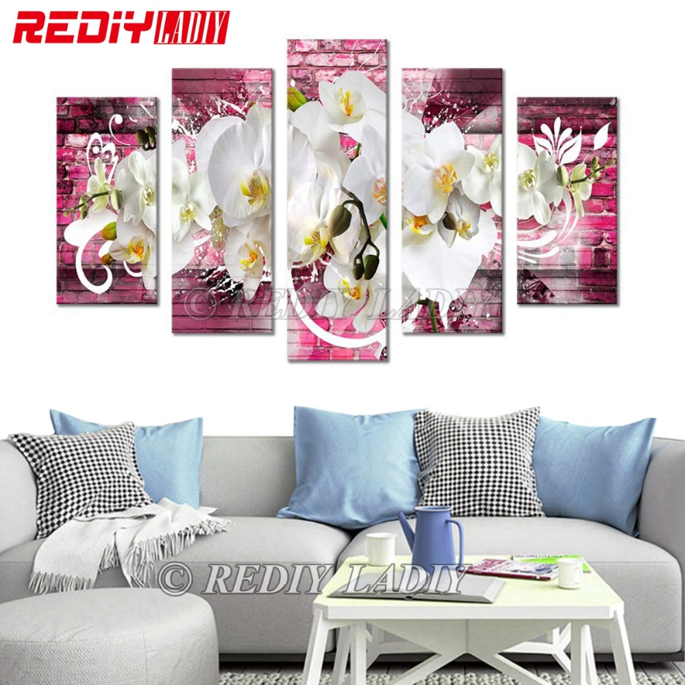 Diamond Painting Triptych Orchid Diamond Embroidery Multi Pictures Rhinestones Cross Stitch Modular Picture Wall Art Home