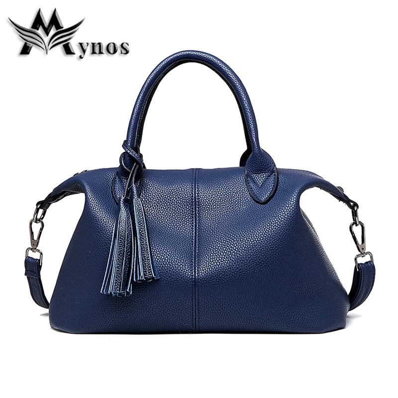 Mynos High Quality Soft Leather Women Shoulder Bags Fashion Tassel Hobos Handbags Casual Large Women Totes Bolsa Sac A Main