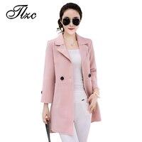 TLZC Hot Sale Fashion Women Trench Coats Candy Color Pink Blue Khaki Plus Size M 4XL
