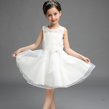 2016 Real New Girl Dress Summer High-grade Wedding Dresses Children Embroidered Party Dresse Bridesmaid Kids Clothes 110-150cm