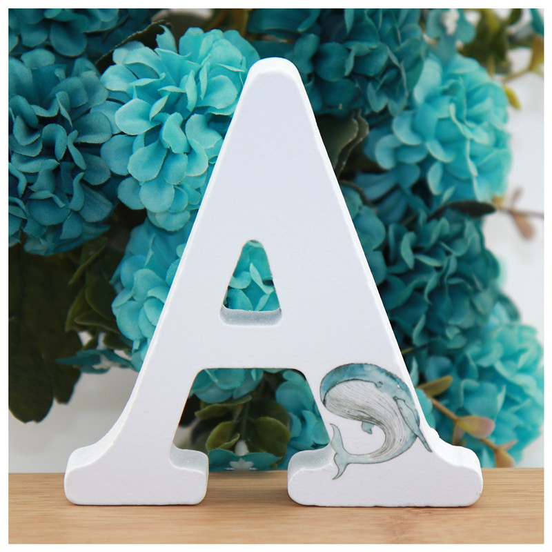 1pc 10X10cm Hand Made Letter Wedding Numbers Dolphin Ocean Wooden Letters Decorative Gift Or Decor Alphabet Ornaments Crafts DIY