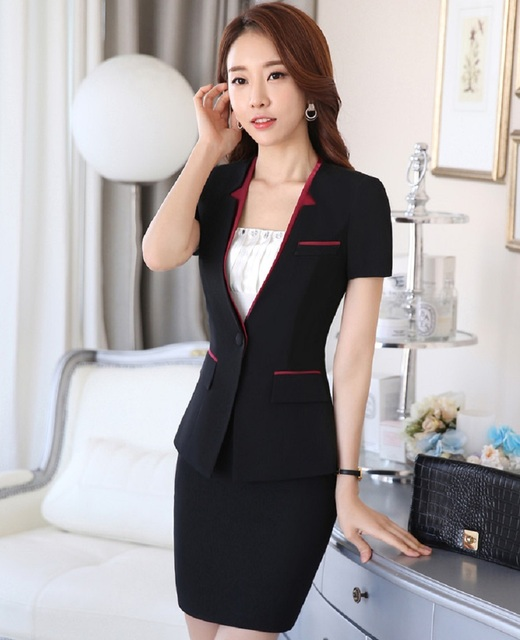 New 2016 Summer Short Sleeve Elegant Black Slim Fashion Professional Business Work Suits Jackets And Skirt Blazers Outfits Set