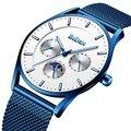 Кварцевые часы BIDEN  мужские модные водонепроницаемые часы со стальным ремешком  Бизнес наручные часы  ультра тонкие мужские часы с датой  му...