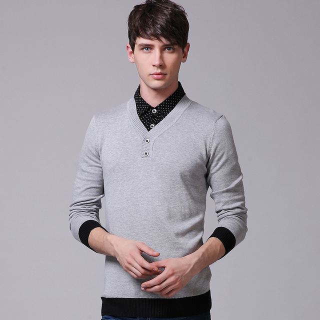 Shirt collar Polo Mens Sweater 2015 New Fashion Cotton Sweater Men ...