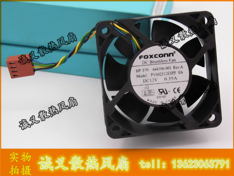 Foxconn 6025 PV602512ESPF OA 60mm 12V 0.35A 6cm 4Wire For HP 444306-001 DC7800 DC7900 USDT server Case axial Cooling Fan