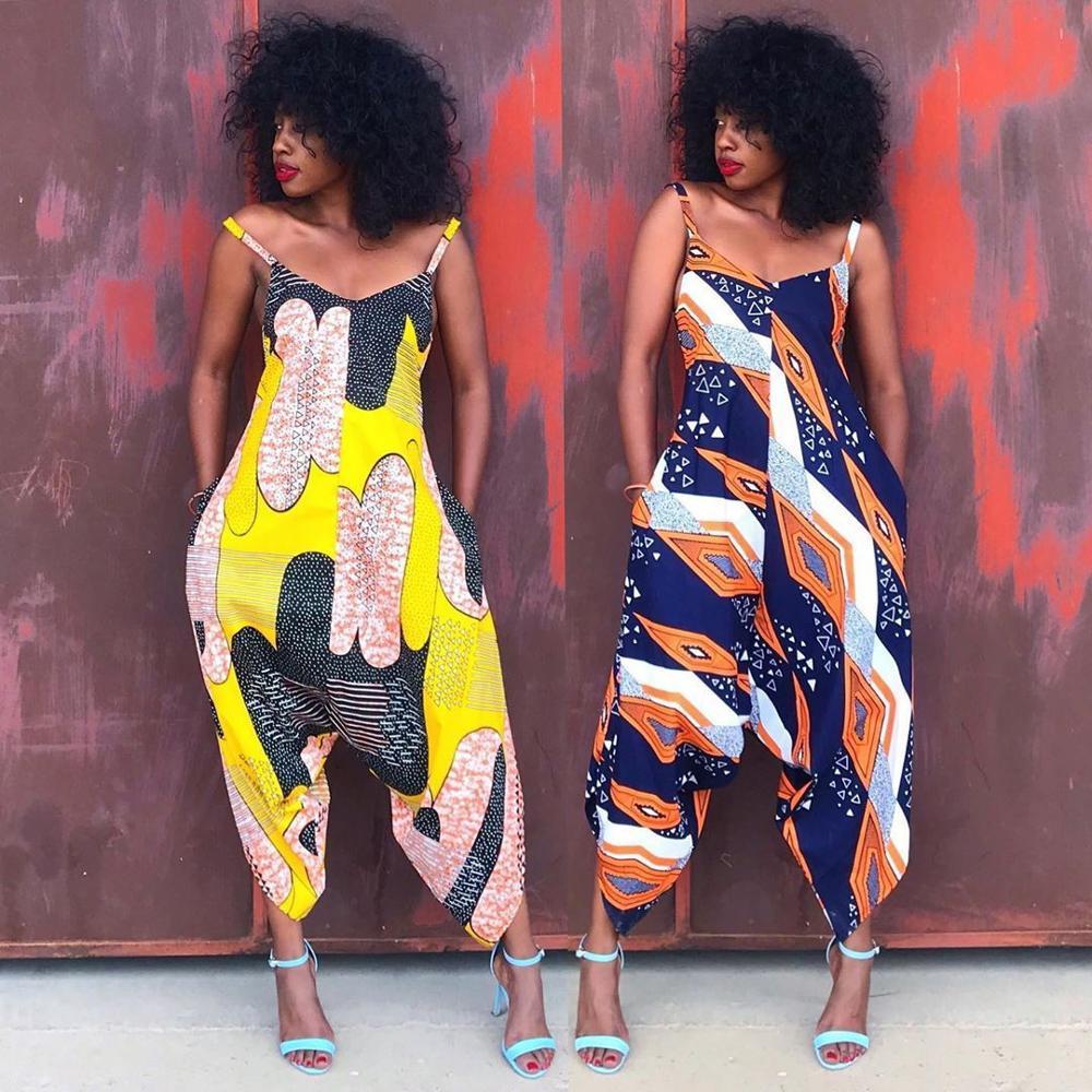 2019 New Sexy Fashion Style African Women Printing Polyester Plus Size Long Jumpsuit S-2XL