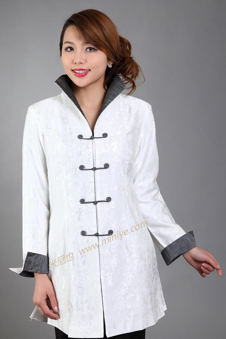 Classy White Chinese Female Cotton Jacket Autumn Windbreaker Long Coat Femininos Casacos Size S M L